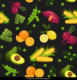 food pattern template fruits vegetables sketch colorful design