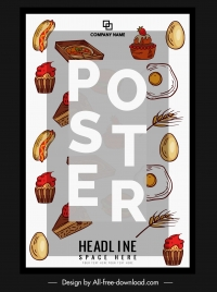 food poster template colorful classic decor