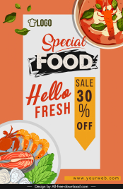 food sale banner template colorful classic flat design