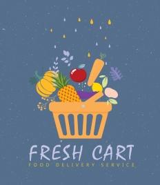 food service banner vegetable cart icons flat design