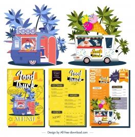 food truck menu templates colorful decor vendor sketch