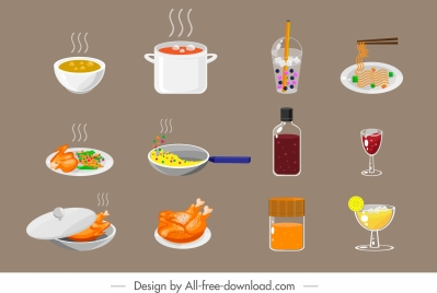 foods drinks sign icons colored classical design