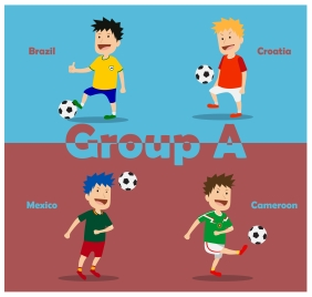 footbal tournament group with nations players illustration