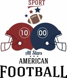 football advertisement helmet ball icons decoration