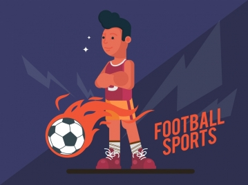 football banner male player fire ball icons