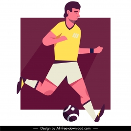 football player icon classic flat cartoon character sketch
