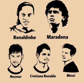 footballer portraits collection black white design