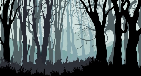 forest background leafless trees icons cartoon design