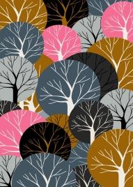 forest background luxuriant tree icons geometric decor