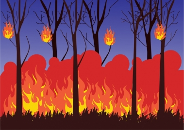 forest fire background colorful cartoon design