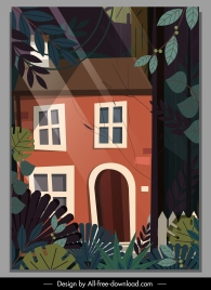 forest house painting dark colorful classic sketch