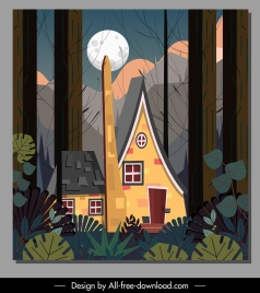 forest house painting moonlight decor colorful classic