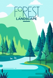 forest landscape background forest lake icons green decor