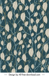 forest leaves background template classical handdrawn luxuriant sketch