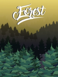 forest scenery drawing dark colored design trees icons