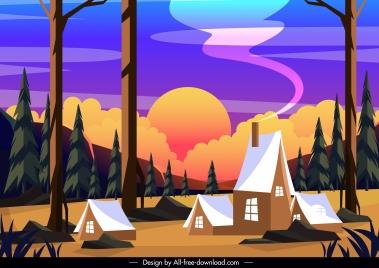 forest village landscape painting colorful classical design
