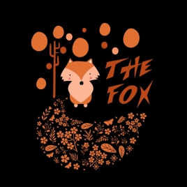 fox background floral leaves decoration dark backdrop