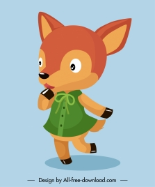 fox cartoon character icon stylized baby girl sketch