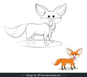 fox icon cute cartoon design handdrawn sketch