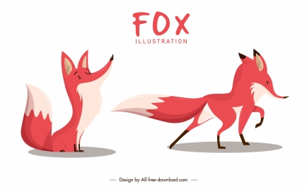 fox icons colored cartoon sketch sitting standing gestures