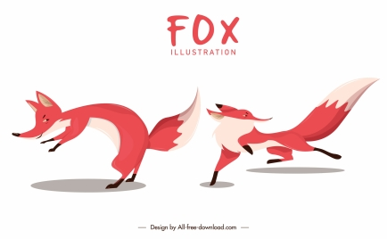 fox icons dynamic design cartoon characters sketch