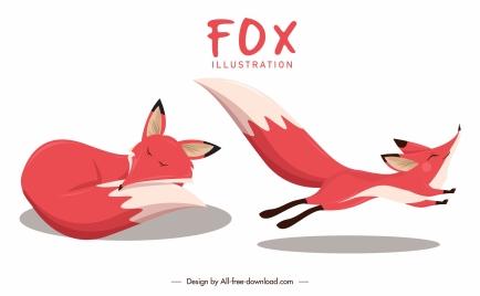 fox icons sleeping running gestures sketch cartoon design