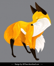 fox painting colored classical design