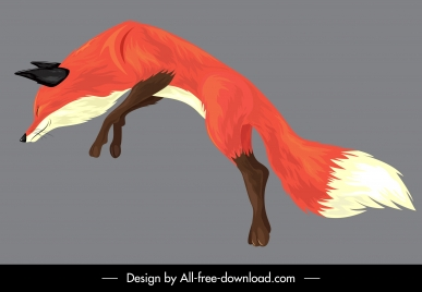 fox painting jumping gesture colored classical sketch