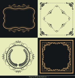 frame templates elegant classical symmetric curves decor