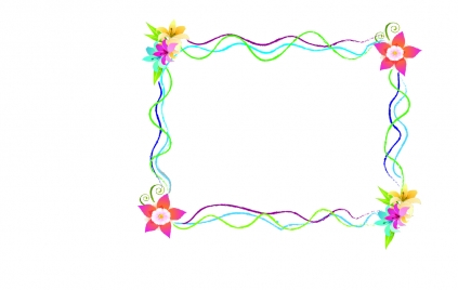 frame with flower and lines