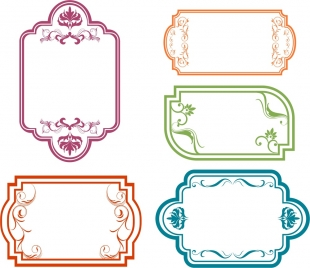 frames design collection various shapes in colors