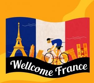 france advertising background flag cyclist landmarks icons decor