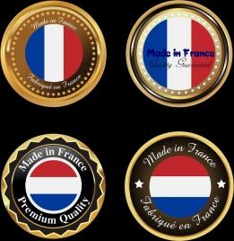 france medals collection flag design shiny golden circles