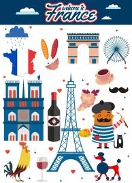france tourism advertisement multicolored symbols decoration