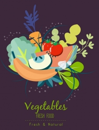 fresh food advertising banner vegetable fruit icons decoration