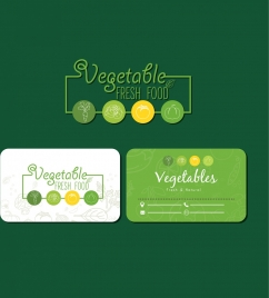 fresh food card template green decor vegetable icons