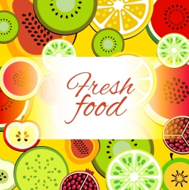 fresh fruits background colorful flat slices icons