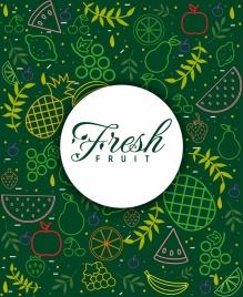 fresh fruits background multicolored flat design