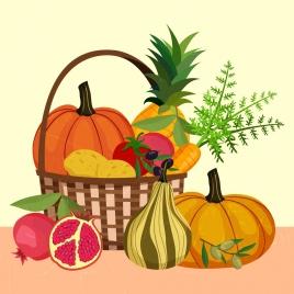 fresh fruits painting basket decoration multicolored design