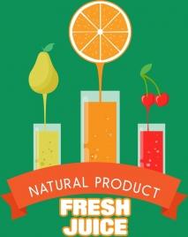 fresh juice banner various fruits flat color decoration
