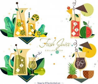 fresh juice cocktail icons multicolored classical design