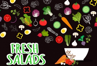 fresh salad advertisement various vegetables bowl icons