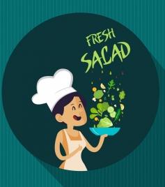 fresh salad advertising female cook vegetable dish icons