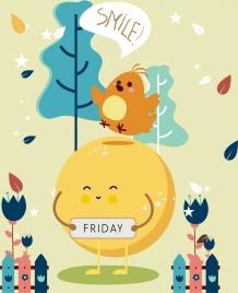 friday banner cute egg bird decor stylized design