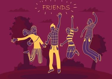 friendship background joyful people icons silhouette handdrawn sketch