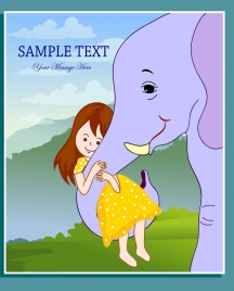 friendship background little girl elephant icons colored cartoon