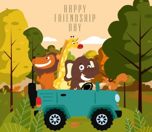 friendship day banner car animals icons cartoon design