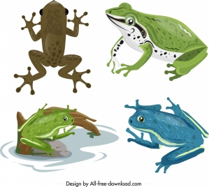 frog toad icons sets colorful design cartoon characters