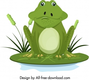 frog wild animal icon green design cartoon character