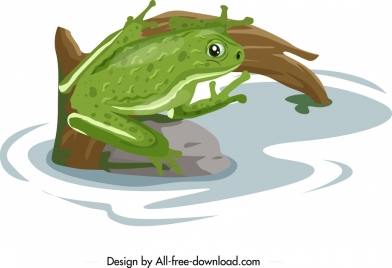 frog wild animal painting colored cartoon sketch